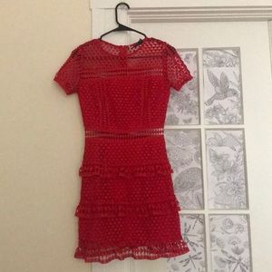 Red Layered Lace Dress